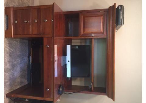 Wooden desk and credenza set
